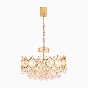 Gilded Brass and Glass Chandelier from Palwa, 1960s