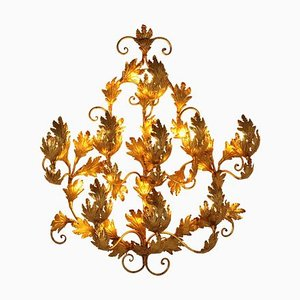 Large Gold Leaf Wall Light, 1970s