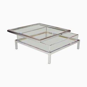 Mesa con tablero deslizante de vidrio de Maison Jansen, años 70