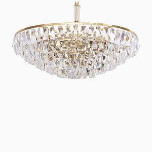 Large Gilded Brass and Crystal Glass Chandelier from Palwa, 1950s