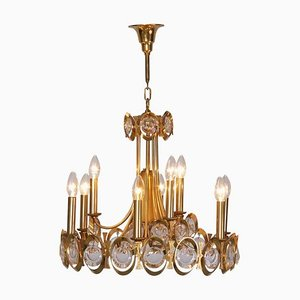 Large Gilded Brass and Glass Chandelier from Palwa, 1960s