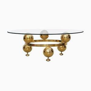 Round Brass Sputnik Coffee Table with Glass Top, 1960s