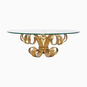 Large Italian Hollywood Regency Gilt Wrought Iron Coffee Table with Glass Top, 1960s