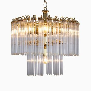 2-Tier Glass and Brass Chandelier in the Style of Venini, 1960s
