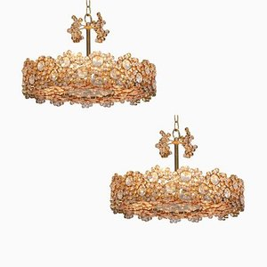 Gilded Brass and Crystal Glass Encrusted Chandelier from Palwa, 1960s