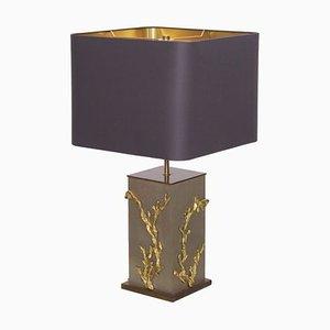 Grande Lampe de Bureau Algue ou Corail en Bronze de Maison Charles, 1970s
