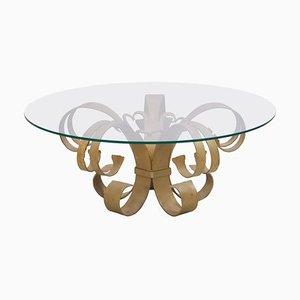 Tavolino da caffè Hollywood Regency in ferro e vetro, Italia, anni '60