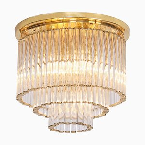 Vintage Glass and Brass Flush Mount Ceiling Lamp by Ernst Palme in the Style of Venini