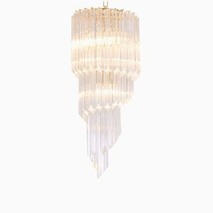 Large Murano Glass Quadriedri Spiral Chandelier with Gold-Plated Fixture, 1980s