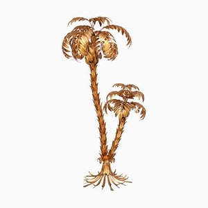 Large Gilt Metal Two-Trunk Palm Tree Floor Lamp by Hans Kögl, 1970s