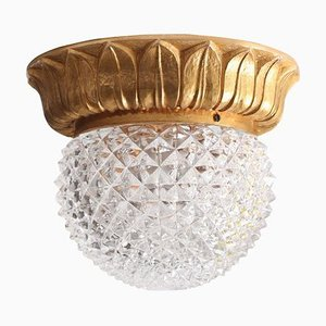 Glass Flush Mount or Sconce on Gold-Plated Base from Glashütte Limburg, 1960s