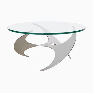 Aluminum and Glass Propeller Coffee Table by Knut Hesterberg for Ronald Schmitt, 1960s
