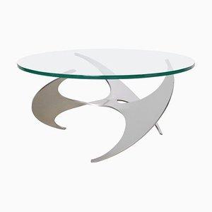 Table Basse à Hélices en Aluminium et en Verre par Knut Hesterberg pour Ronald Schmitt, 1960s