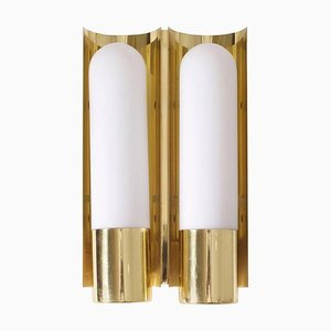 Brass and Glass Wall Lights or Sconces from Glashütte Limburg, 1970s, Set of 2