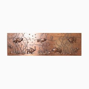Large Lighted Copper Wall Picture Panel or Object with Fishes, 1960s