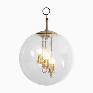 Grand Lustre ou Lampe à Suspension Sputnik Rond en Laiton de Doria Leuchten, 1960s