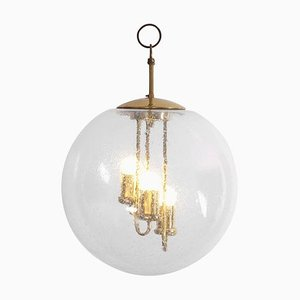 Large Round Brass Sputnik Chandelier or Pendant Lamp from Doria Leuchten, 1960s