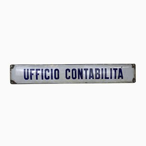 Vintage Italian Enamel Metal Sign Accounting Office, 1940s