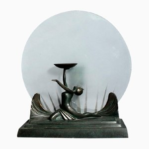 Art Deco Table Lamp in Bronze and Glass, 1930s