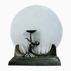 Art Deco Tischlampe aus Bronze und Glas, 1930er
