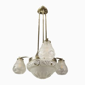 Art Deco Frosted Glass and Brass Floral 4-Light Chandelier, 1930s