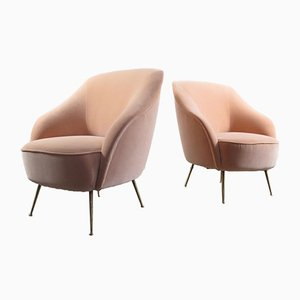 Mid-Century Italian Velvet Lounge Chairs, 1950s, Set of 2