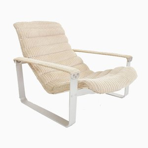 Vintage Cream Velvet Pulkka Lounge Chair by Ilmari Lappalainen for Asko, 1960s