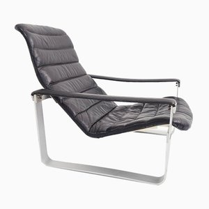 Vintage Black Leather Pulkka Lounge Chair by Ilmari Lappalainen for Asko, 1960s