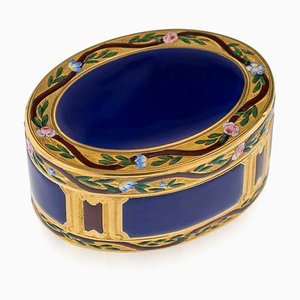 Antique French 18k Gold & Hand-Painted Enamel Snuff Box, 1770s