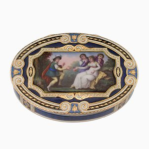 Antique Swiss 18k Gold & Hand-Painted Enamel Snuff Box by Sene & Detailia, 1800s