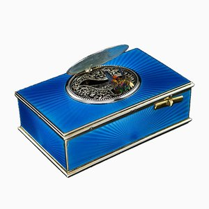 Antique French Solid Silver-Gilt & Enamel Bird Automaton Box by J.Granvigne, 1910s