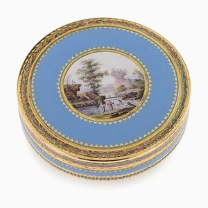 Antique Swiss 18k Gold & Hand-Painted Enamel Bonbonniere Box, 1800s