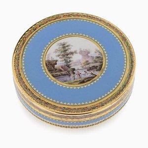Boite Bonbonnière Antique en Or 18k et Émail Peint à la Main, Suisse, 1800s