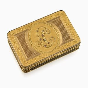 Antique Austrian 18k 4-Colored Gold Snuff Box by Felix Paul, 1810s