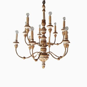 Genovese 12-Light Chandelier in Lacquered Iron and Gilded Wood, 1940s