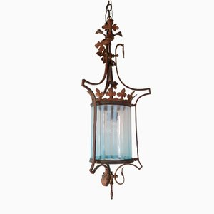 Golden Brass Lantern with Shaded Glass, 1920s