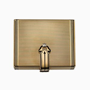 Vintage Art Deco Tiffany Gold, Enamel & Diamond Vanity Case by Cartier, 1920s