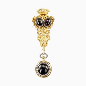 Antike schweizerische 18 Karat Gold, Diamanten & Granat Geflecht Uhr Chatelaine, 1870er