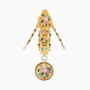 Antique English 18k Gold & Enamel Open-Faced Verge Watch Chatelain, 1700s