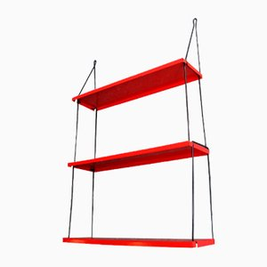 Vintage Red Lacquered Metal Shelf System, 1970s