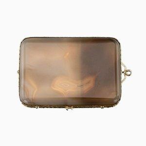 Antiker französischer Goldmedaillierter Achat-Minaudiere, 1900er