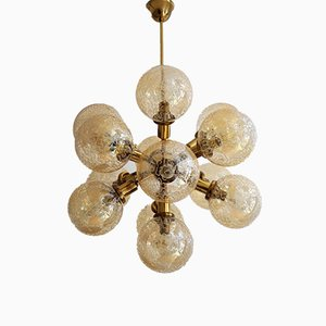 Vintage Brass and Glass Sputnik Chandelier from Kaiser Leuchten, 1970s