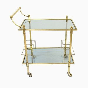 Glass 2-Tier Serving Bar Cart, 1960s
