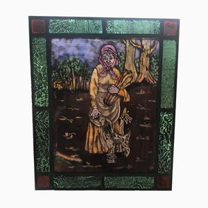 Antique Hanging Stained Glass Window