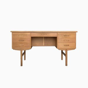 Scandinavian Oak Bilateral Vintage Writting Desk, 1960s