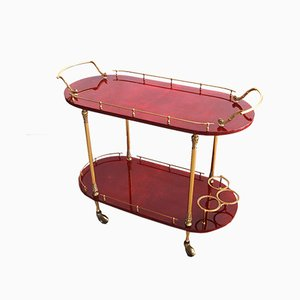 Mid-Century 2-Tier Red Goatskin Parchment Bar Cart or Tea Trolley with Bottle Holders by Aldo Tura