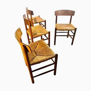Chaises de Salon J39 Rush par Børge Mogensen pour Federicia, 1948, Set de 4