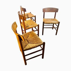 J39 Rush Dining Chairs by Børge Mogensen for Federicia, 1948, Set of 4