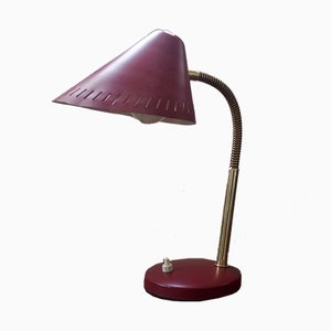 Mid-Century French Red Brass Gooseneck Table Lamp, 1950s