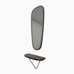 Spiegel mit Keramik Mosaik Wandregal, 1950er, 2er Set